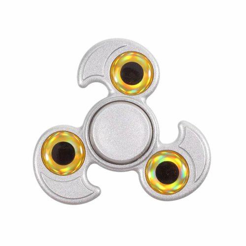 Fidget Spinner 3-Siipinen Metalliseos Silmät Hopea