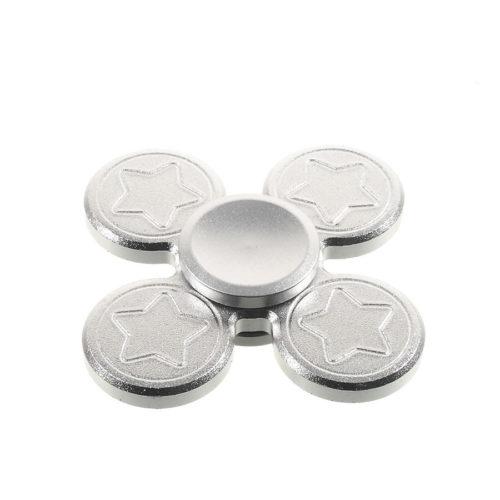 Fidget Spinner 4-Siipinen Alumiiniseos Hopea