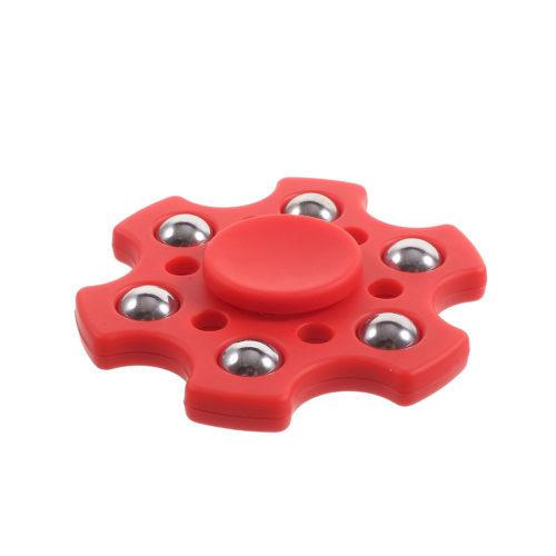 Fidget Spinner 6-Siipinen Metallipalloilla Punainen