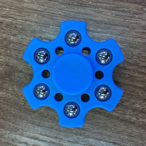 Fidget Spinner 6-Siipinen Metallipalloilla Tummansininen