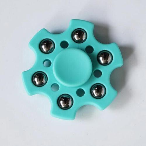 Fidget Spinner 6-Siipinen Metallipalloilla Turkoosi