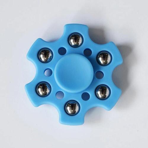 Fidget Spinner 6-Siipinen Metallipalloilla Vaaleansininen